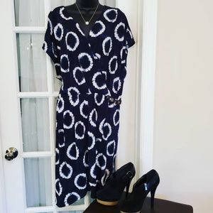Navy Blue and White  Michael Kors Plus Size Dress